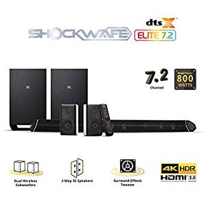 Nakamichi Shockwafe Elite 7.2Ch DTS:X 800W 45-Inch Sound Bar System