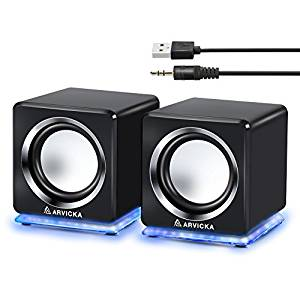 ARVICKA Blue LED USB Speakers