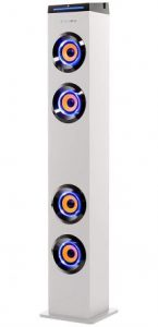 ART+SOUND AR1004WH Wall Powered Bluetooth Tower Speaker with Lights