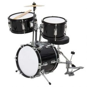 Best Choice Products 3-Piece Kids Beginner Drum Set wSticks, Chair, and Drum Pedal - Black