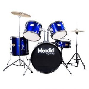 Mendini by Cecilio Complete Full Size 5-Piece Adult Drum Set with Cymbals, Pedal MDS80-BL