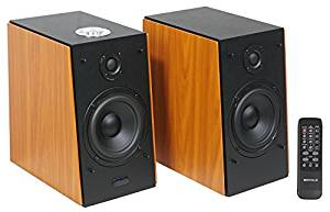 Pair Rockville HD5 RMS Powered Bluetooth Bookshelf Home Theater Speakers