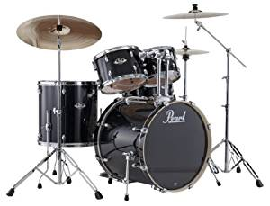 Pearl EXX705/C 5-Piece Export Fusion Drum Set with Hardware - Jet Black