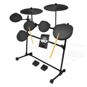 Pyle Pro 9 Piece Electronic Drums Set - Electric Drum Kit with 5 Drum Pad Heads, 2 Cymbal Crash Pads