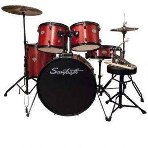 Rise by Sawtooth Full-Size Student Drum Set with Hardware and Zildjian Cymbals, Crimson Red Sparkle