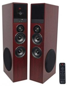 Rockville TM80C Cherry Powered Home Theater Tower Speakers 8 SubBluetoothUSB