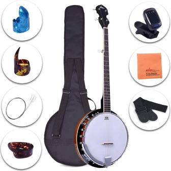 ADM 5-String Banjo 24 Bracket with Closed Solid Wood Back and Geared 5th Tuner, Beginner Pack with Bag