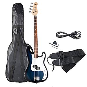 Goplus Electric Bass Guitar Full Size 4 String with Strap, Guitar Bag, and Amp Cord (Blue Bass 4 Straps)