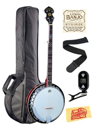 Oscar Schmidt OB5 Mahogany 5-String Banjo Bundle with Gig Bag, Tuner, Strings, Strap