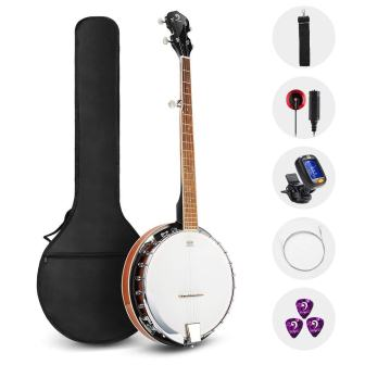 Vangoa 5 String Banjo Remo Head Closed Solid Back with Beginner Kit, Tuner, Strap, Pickup, Strings, Picks, and Bag