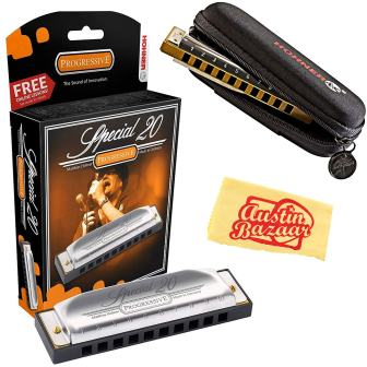 Hohner 560 Special 20 Harmonica – Key of C Bundle with Carrying Case and Austin Bazaar Polishing Cloth