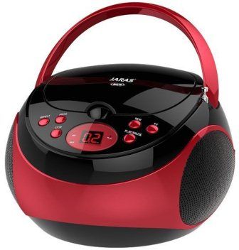 Jaras JJ-Box89 RedBlack Sport Portable Stereo CD player with AMFM Stereo Radio and Headphone Jack Plug