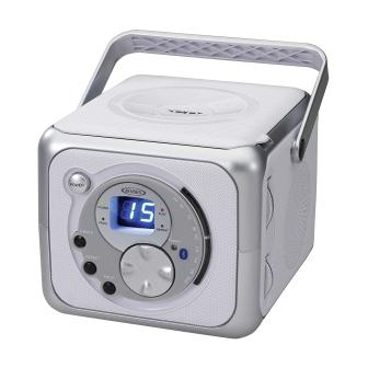 Jensen CD-555 WhiteSilver CD Bluetooth Boombox Portable Bluetooth Music System with CD Player +CD-RRW