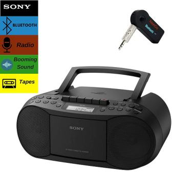 Sony Bluetooth Boombox Bundle – [2]7. Piece Set Includes Classic Stereo Boombox wCDCassetteRadio
