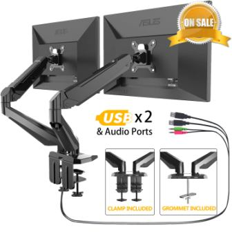 Dual Monitor Stand – FEZIBO Adjustable Full Motion Monitor Mount
