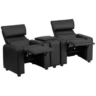 Flash Furniture BT-70592-BK-LEA-GG Kid's Leather Reclining Home Theater Seating