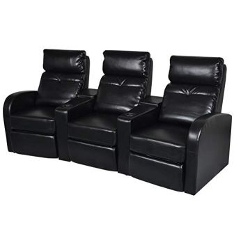 vidaXL Artificial Leather 3-Seat Home Theater Seating