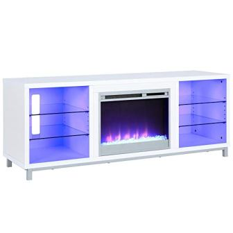 Ameriwood Home Lumina Fireplace White TV Stand