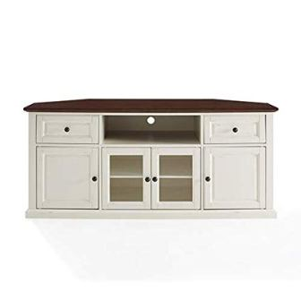 Crosley Furniture Shelby 60″ Corner TV Stand in White and Mahogany