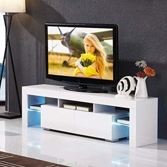 Mecor High Gloss TV Stand with LED Lights