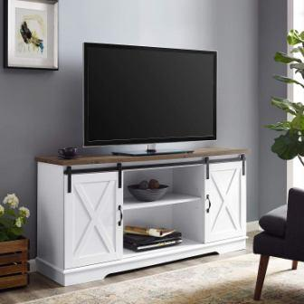 WE Furniture White TV Stand