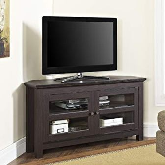 Walker Edison 44″ Brown Wood Cordoba Corner TV Stand Console