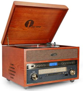 1byone Nostalgic Wooden Turntable
