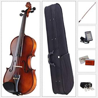 ADM Acoustic Violin 4/4 Size with Hard Case, Beginner Pack for Student, Red Brown