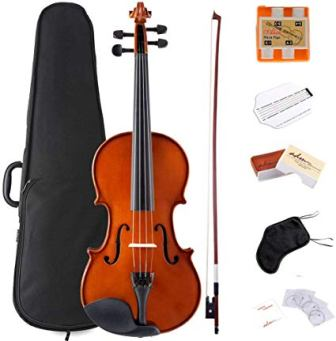 ADM Violin 4/4 Full Size Solidwood Ebony Pegs Violin Beginner Student Advanced Kit with Violin Case, Ebony Frog Violin Bow and Rosin, etc.