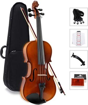 Aileen Solidwood Ebony Kids Students Beginners Violin Rental Shop Preference Outfit with Case, Rosin, Premium Strings(4/4)