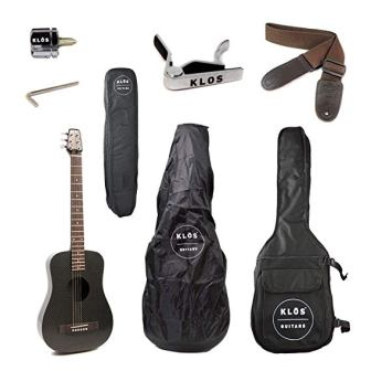 KLOS CARBON FIBER TRAVEL ACOUSTIC ELECTRIC GUITAR PACKAGE