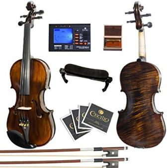 Mendini 4/4 MV500+92D Flamed 1-Piece Back Solid Wood Violin with Case, Tuner, Shoulder Rest, Bow, Rosin, Bridge and Strings – Full Size