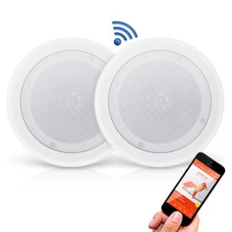 "Pyle Pair 8"" Bluetooth Flush Mount in-Wall in-Ceiling 2-Way Universal Home Speaker"