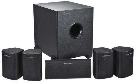 Monoprice 5.1 Channel Home Theater Satellite Speakers And Subwoofer