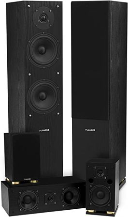 Fluance SXHTB-BK Elite Series Surround Sound Home Theater 5.0 Channel Speaker System